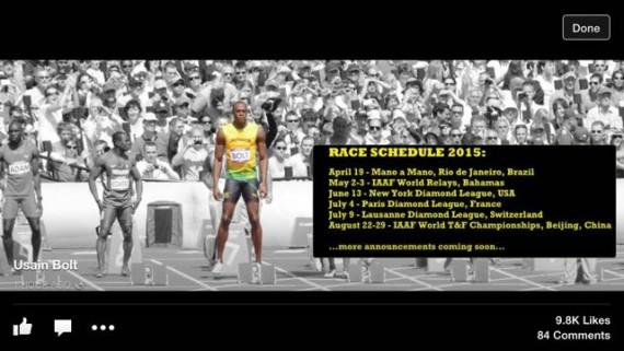 Usain Bolt 2015 race calendar