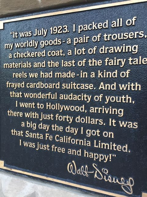Walt Disney quote plaque at Disneyland