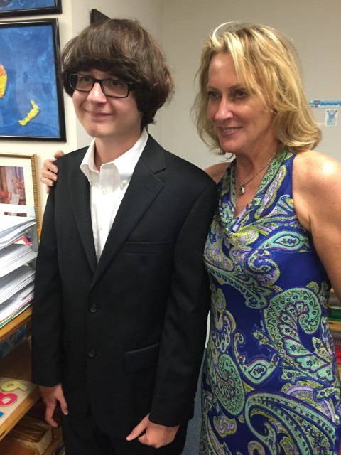 Middle school student and teacher