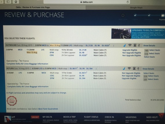 Delta International flight purchase screen shot