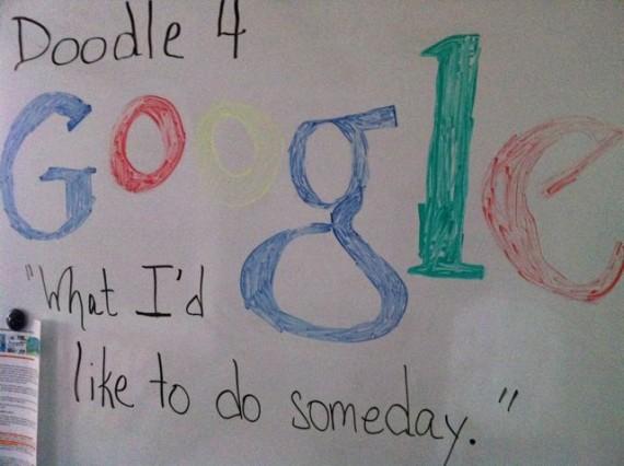 Google art on elementary school white board
