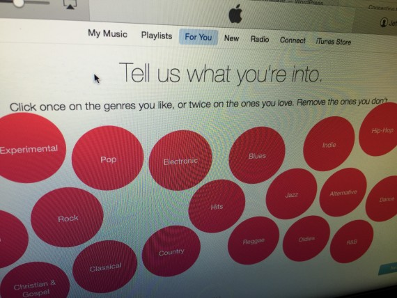 Apple Music selection screen shot
