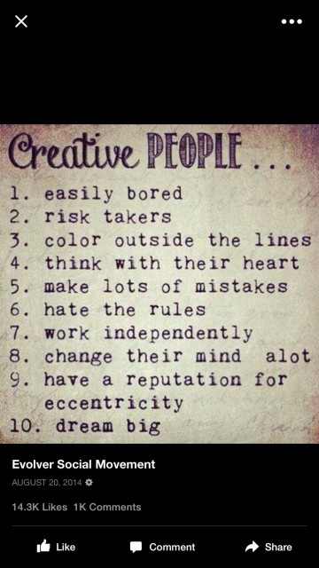 top ten attribute list for creative people