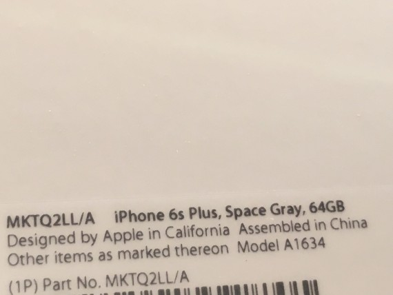 iPhone 6s Plus box labeling