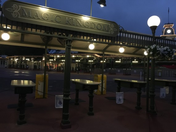 Magic Kingdom bag check area at Dawn