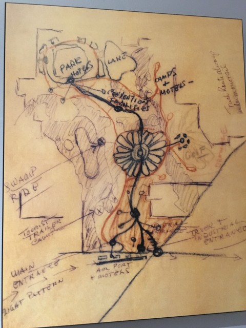 Original Walt Disney sketch of Walt Disney World