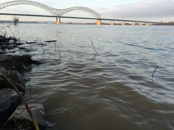 Mississippi river and Memphis bridge