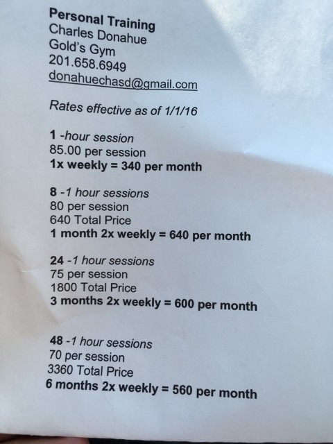 Personal Trainer rates