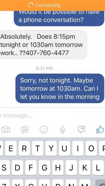 Facebook Messenger screen shot