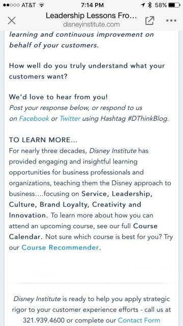 Disney Institute website screen shot