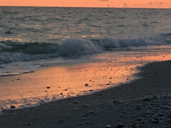 Sanibel beach at dusk