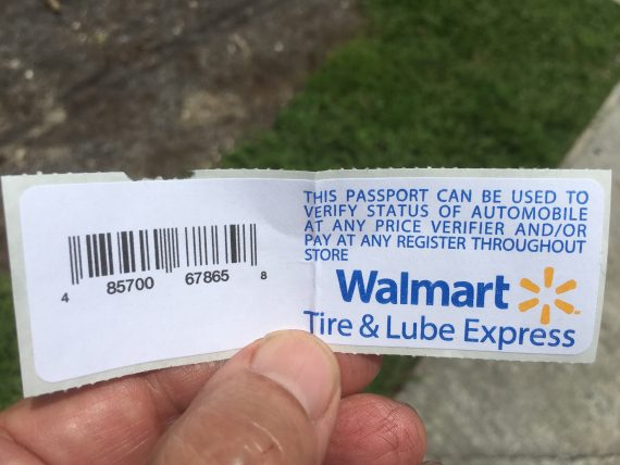 Walmart Automotive department claim check