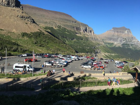 Logan Pass parking lot in evening