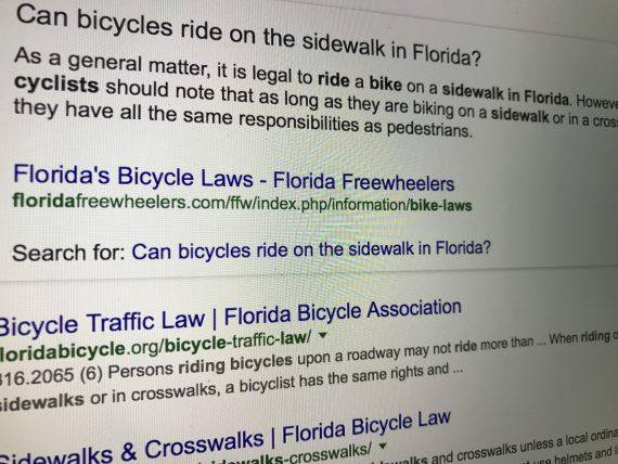 Bicycling on Florida sidewalks