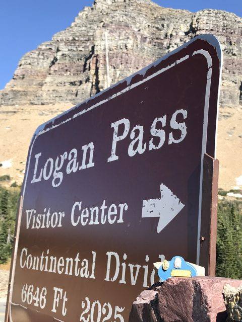 Logan Pass welcome sign