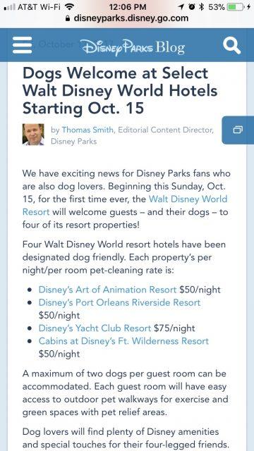 Pets at Disney Resorts