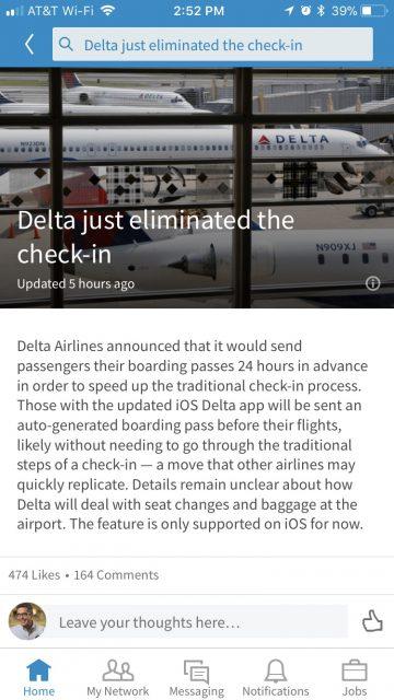 Delta auto boarding pass announcement