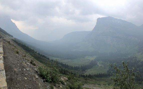 Logan Pass view cloudy