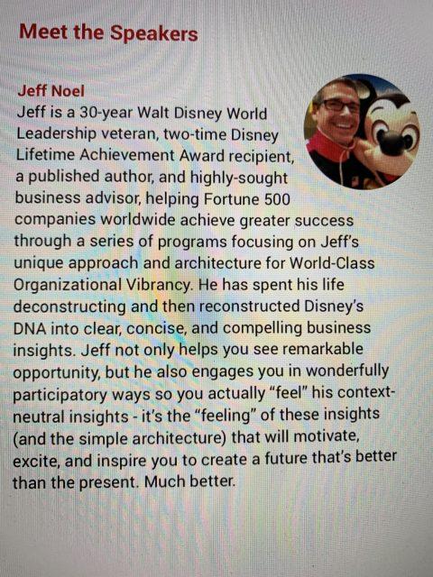 Disney Keynote Speaker bio for jeff noel