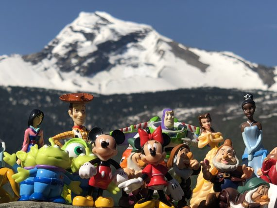 Disney characters at Glacier National Park