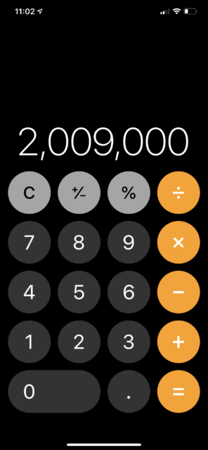 Apple calculator screen shot