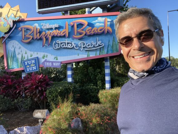 jeff noel at Blizzard Beach entrance during COVID-19 lockdown
