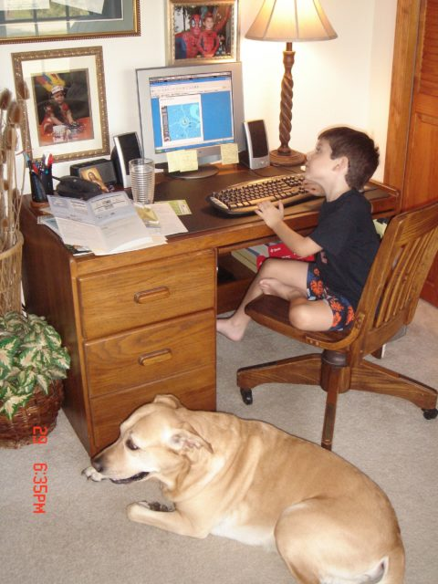child at a desk