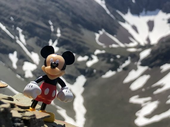 Mickey Mouse in mountains