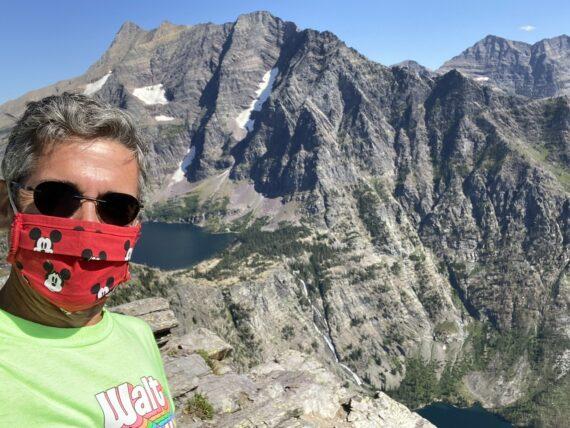 Jeff noel wearing mask in mountains