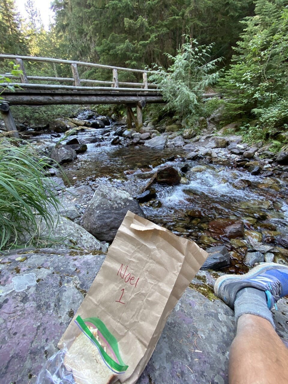 bridge over creek and hiker lunch bag
