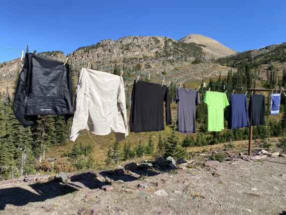 cloths line with drying laundry in mountains