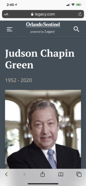 Judson Green, Disney Chairman, death announcement from Orlando Sentinel