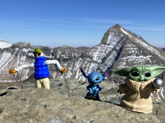 Disney characters  in the mountains