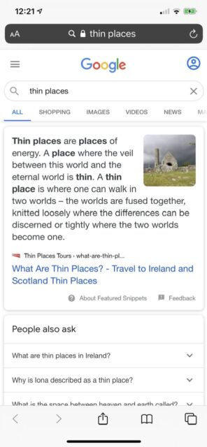 google search for thin places concept