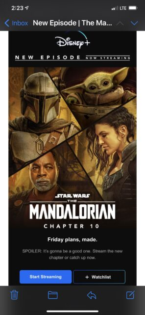 Mandalorian episode announcement on iPhone screen