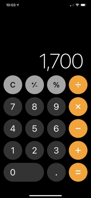 iPhone calculator image with 1,700