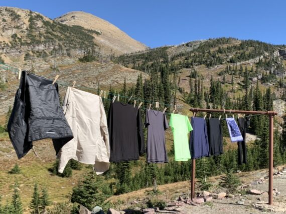 Laundry hanging out to dry in the mountains