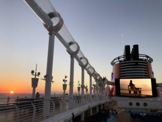 Disney cruise ship at sunrise