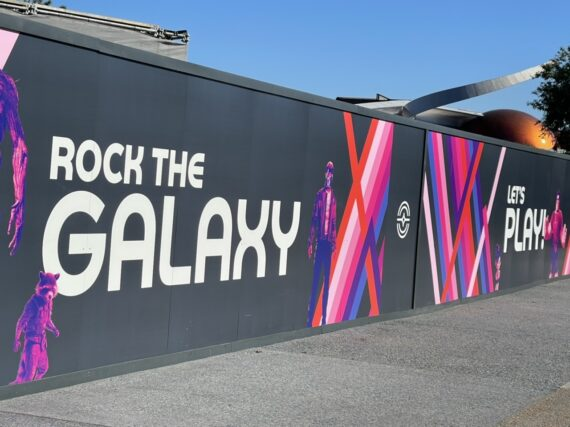 Epcot Rock the Galaxy message painted on construction wall
