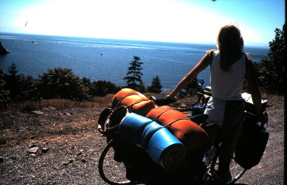 Woman on a cross-country bicycle trip