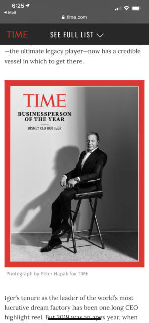 Time magazine Bob Iger business person of the year