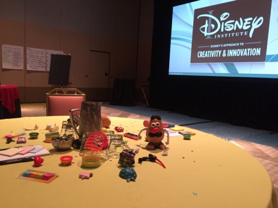 Disney Institute classroom table and screen