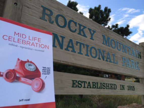 mid life celebration, the book, at Rocky mountain National Park entrance