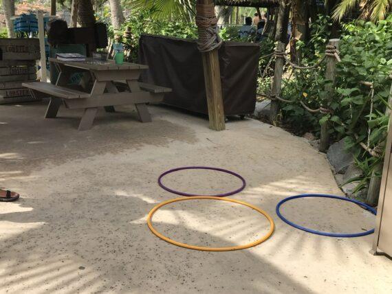 three hula hoops making a Mickey Mouse head shape