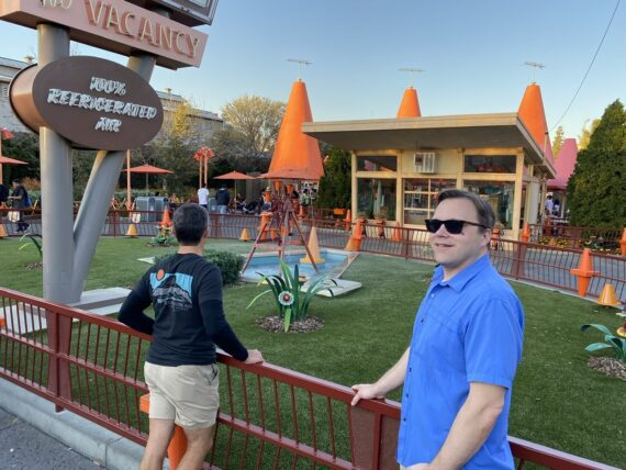 Two men at Disney's California Adventure Cars Land
