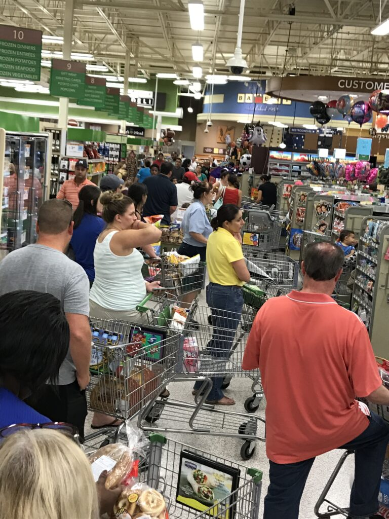Long lines at grocery store