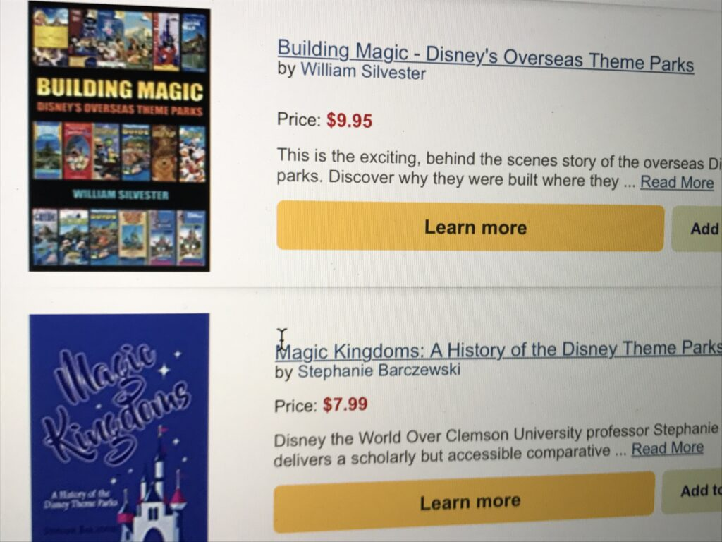 Prolific use of the word and image of Walt Disney on books