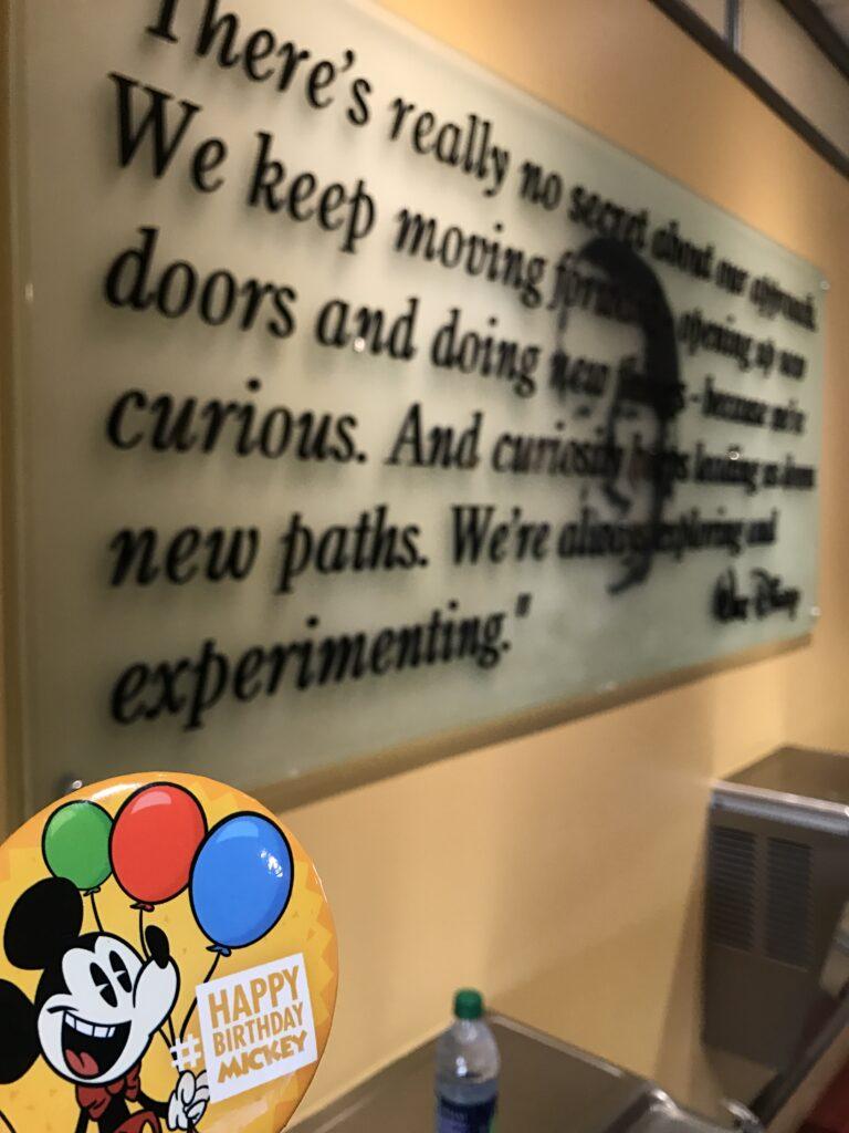 Walt Disney quote framed on a wall
