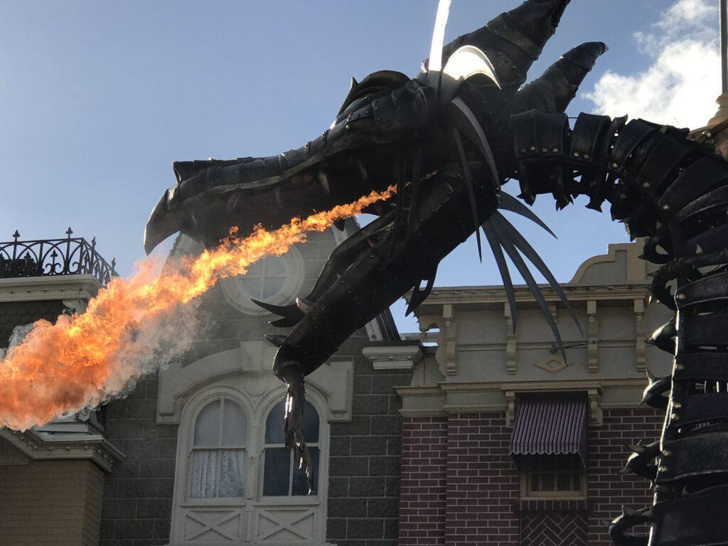 Disney parade float fire-breathing dragon