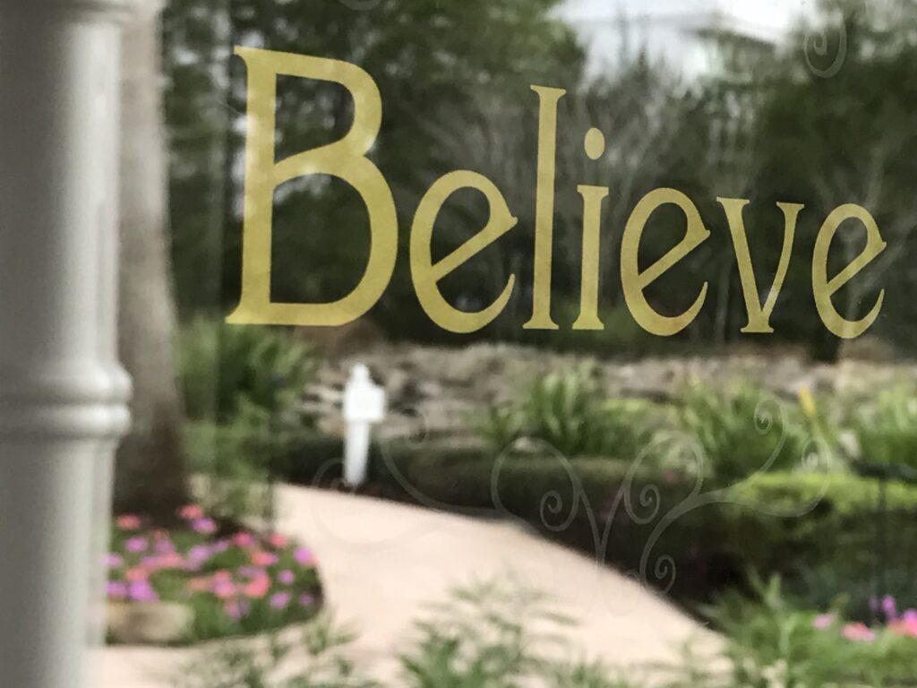 Disney's Wedding Pavilion sign saying Believe